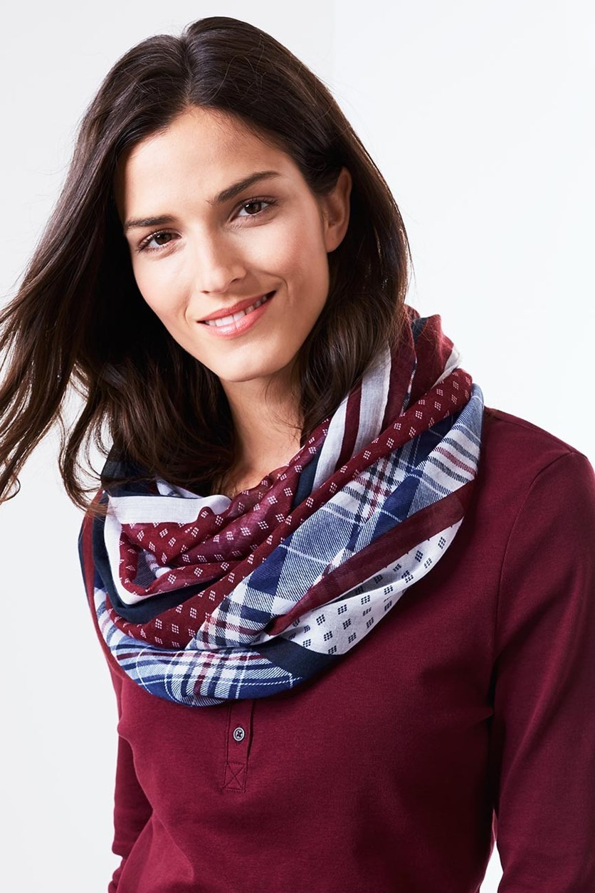Women's Tube Scarf, Red/Blue