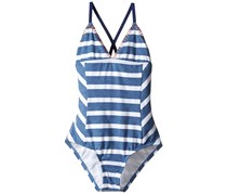 Splendid Girl's Chambray Stripe One Piece Swimsuit, Blue/White
