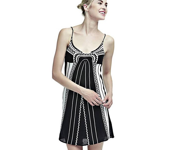 Women's Ethnic Print Dress, Black/White