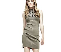 Guess Women's Dress With Lace Insert, Olive