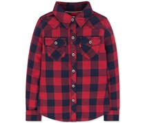 Levi's Baby Girls' Buffalo Plaid Long-Sleeve Shirt, Navy Blue/Red