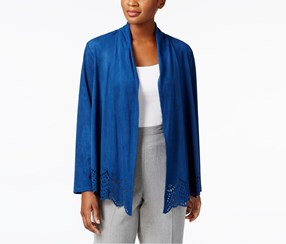 Alfred Dunner Arizona Sky Faux-Suede Cutout Jacket, Lapis