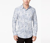 Tasso Elba Mens Paisley Supima Cotton Shirt, Grey Combo