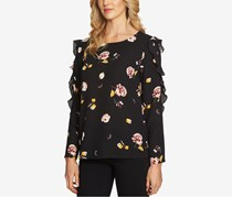 1.STATE Floral-Print Ruffled Blouse, Rich Black