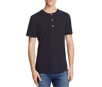 7 For All Mankind Thermal Short Sleeve Henley Tee, Black