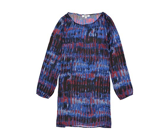 Women Printed Long Sleeve Dress, Blue/Navy/Red/Black