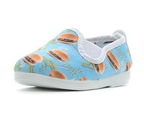 Flossy Toddlers Unisex Burger Print Shoes, Sky Blue