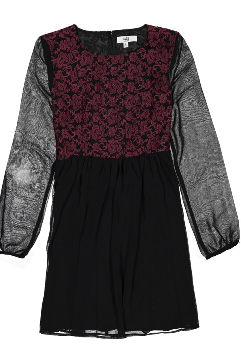 Women Printed Long sleeve Dress, Black/Maroon