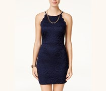 Women Juniors' Lace Bodycon Dress, Navy