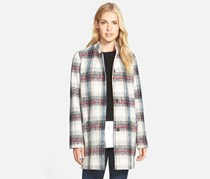 Kenneth Cole Drop Shoulder Plaid Wool Blend Coat, Cream Combo