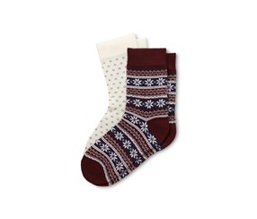 Women's Socks Set of 2, Maroon/White