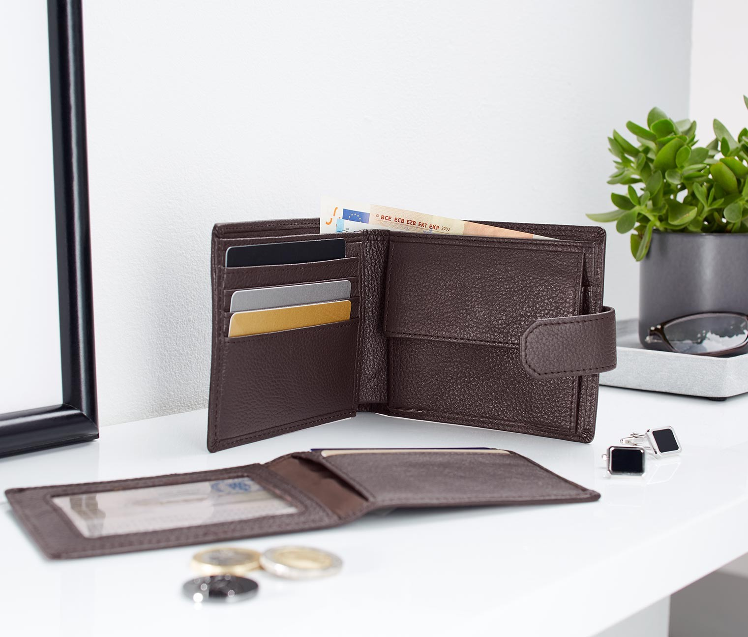 Mens Leather Wallet, Brown
