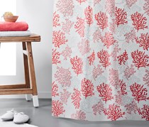 Shower Curtain, 200 x 180 cm, Red/White