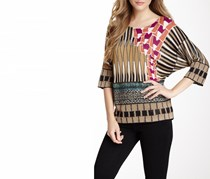 Custo Barcelona Women's Allover Printed Top, Brown Combo