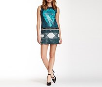 Mis Pluma Sequin Printed Dress, Blue/Green/Black/White