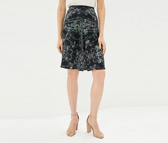 Printed Skirt, Black Combo
