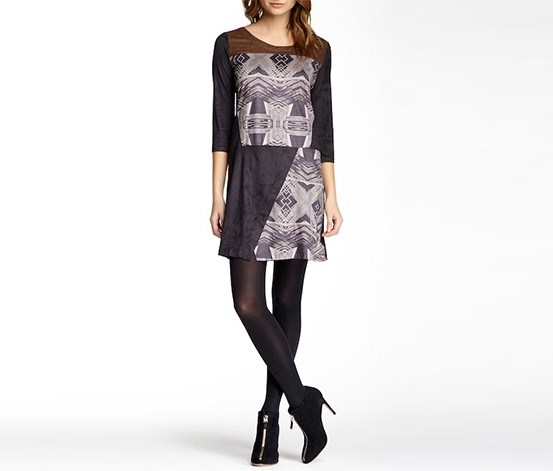 Women's Printed Dress, Brown/Black