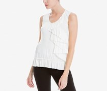 Max Studio London Sleeveless Ruffled Top, Cream