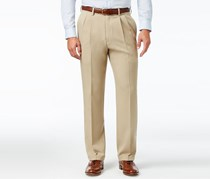 Haggar Men's Classic-Fit Eclo Stria Double Pleated Dress Pants, Sand