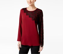 Cable & Gauge  Asymmetrical Lace-Trim Top, Pomegranate