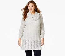 American Rag Plus Size Long-Sleeve Cowl-Neck Sweater, Egret Combo