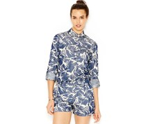 Rachel Roy Printed Button-Front Blouse, Blue