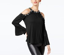 Velvet-Trimmed Embellished Tops, Deep Black