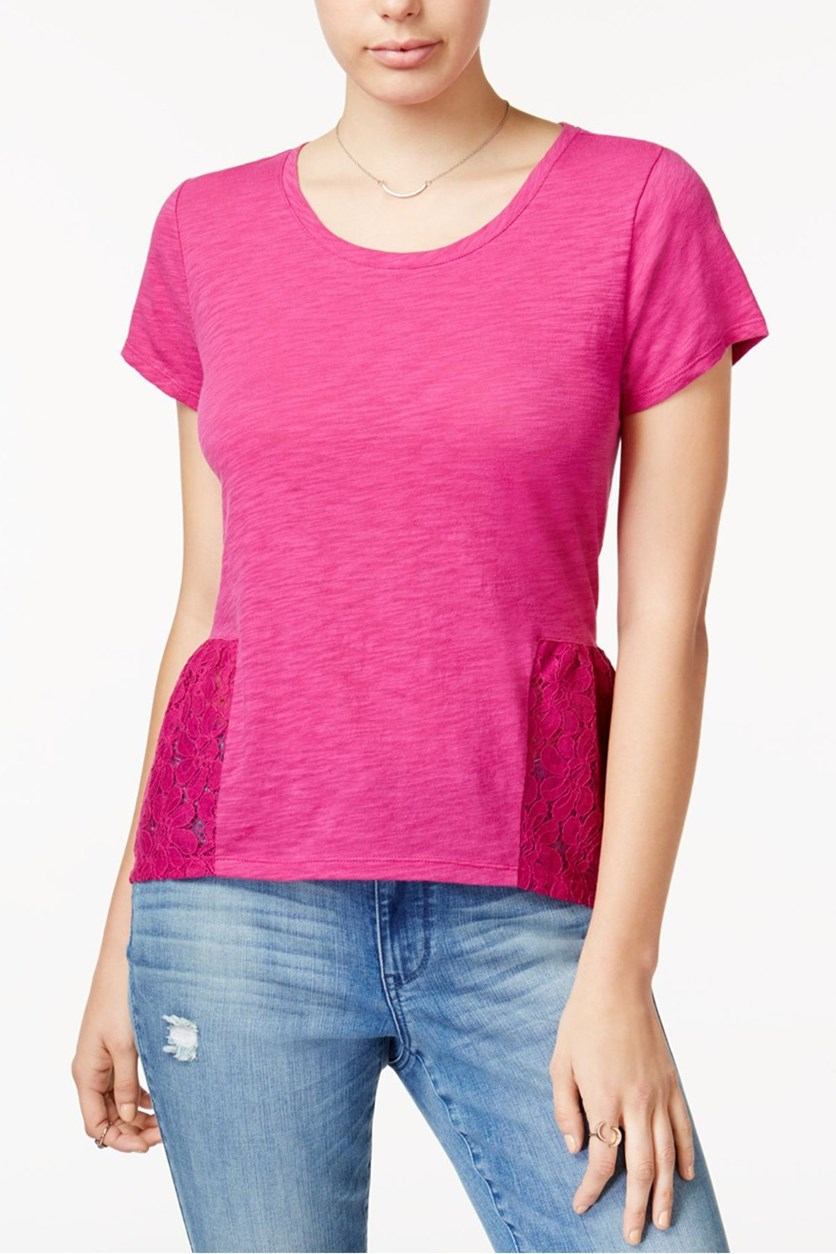 Women's Lace Peplum T-Shirt, Bold Berry