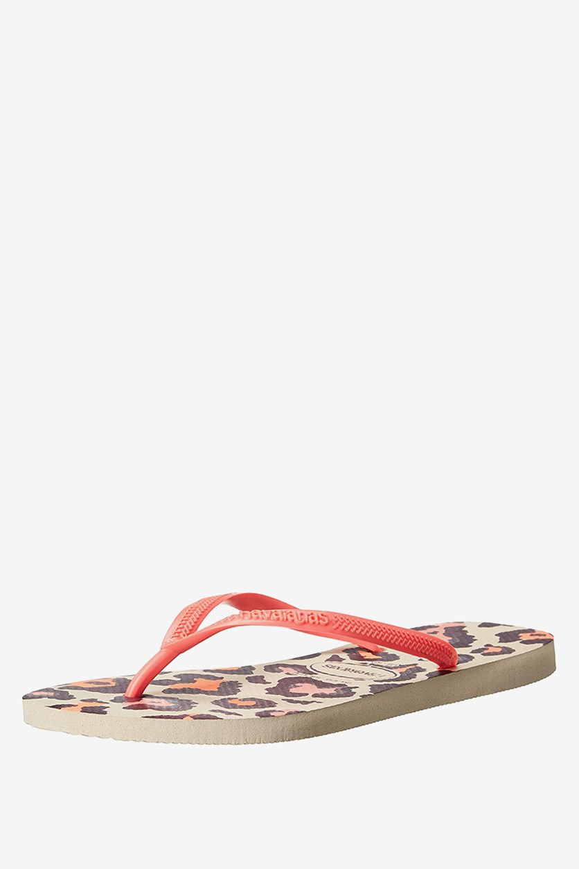 Slim Animal Flip Flops, Beige/Coral