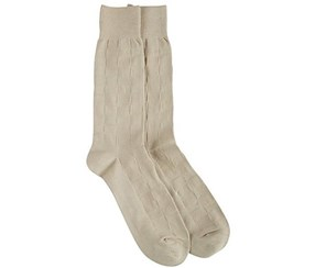 Perry Ellis Men's Checkered Dress Socks, Beige