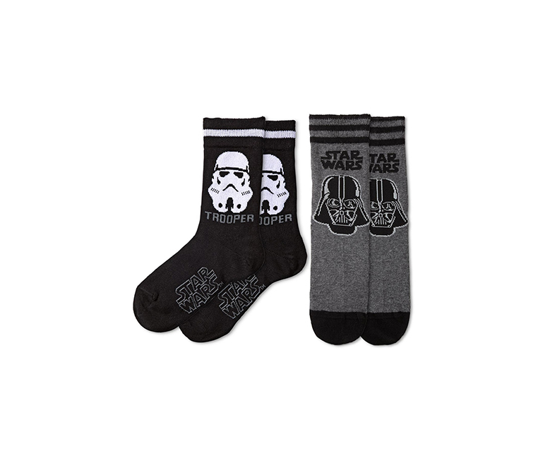 2 Pairs Of Socks, Star Wars, Black/Grey
