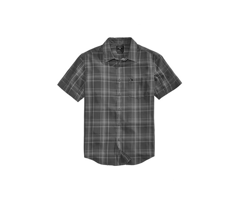 Quiksilver Men's Snap Jam Plaid Shirt, Tarmac