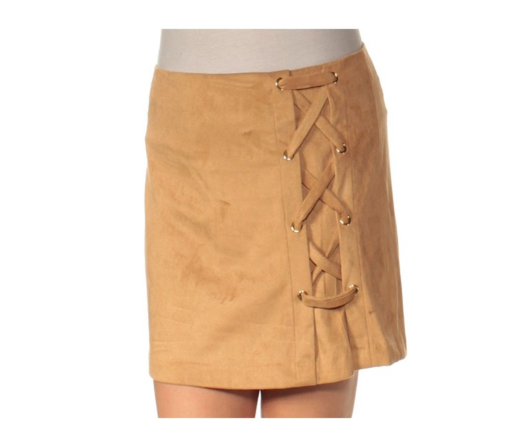 Laced Faux-Suede Stretch Skirt, Dark Tan