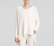 Free People Cabled V Neck Sweater, Ivory