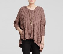 Free People Cabled V Neck Sweater, Mushroom