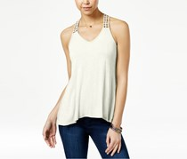 American Rag Crocheted-Back High-Low Tank, Egret