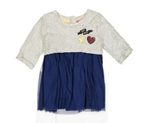 Betsey Johnson Girls Applique Detail Dress, Gold/Navy