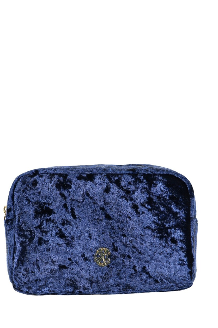 Crushed Velvet Voyager Cosmetic Kit, Navy/Marine