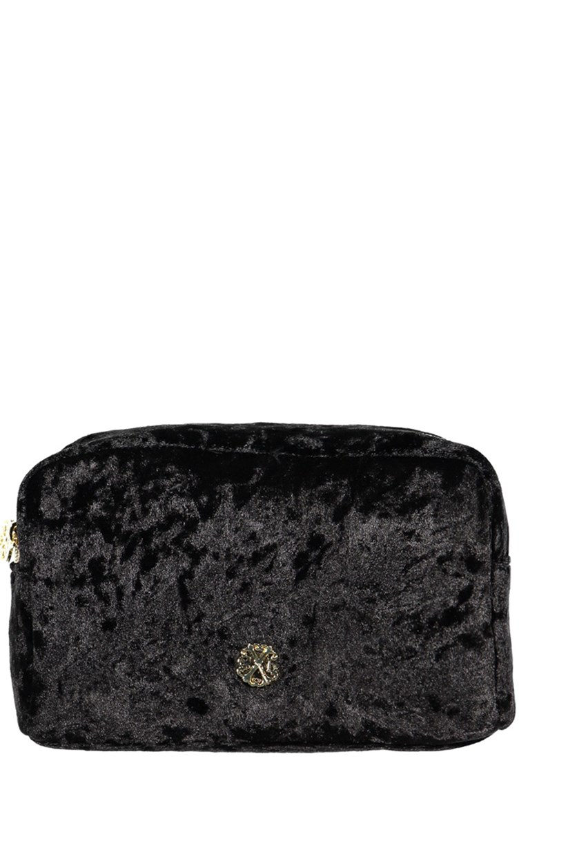 Crushed Velvet Voyager Cosmetic Kit, Black