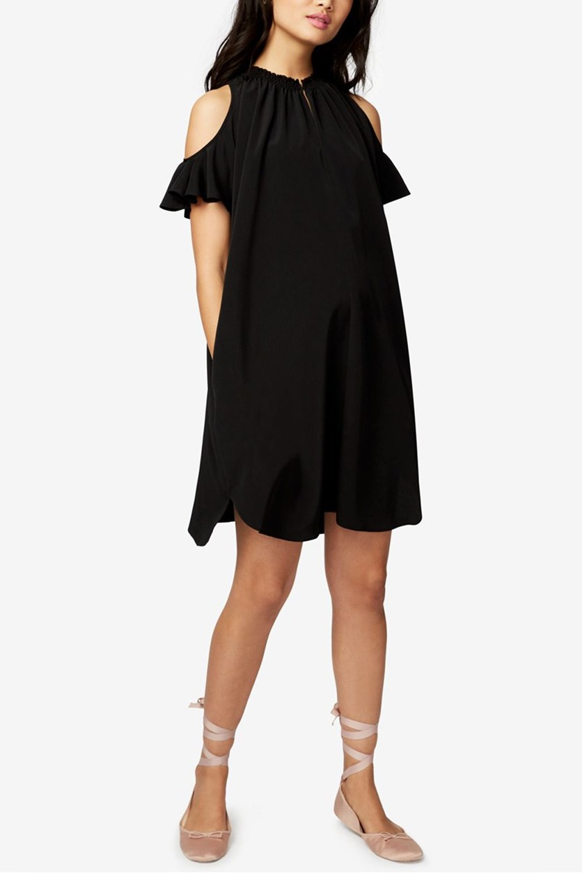 Elizabeth Cold-Shoulder Shift Dress, Black