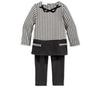 First Impressions Baby Girls 2-Pc. Long-Sleeve And Pant Set, Black/White