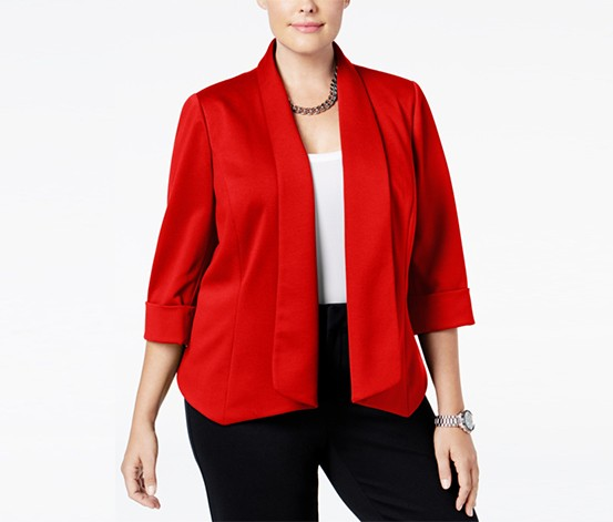 Kasper Plus Size Open-Front Blazer, Red
