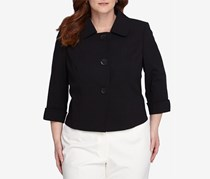 Tahari Arthur S. Levine Plus Three Button Blazer, Black