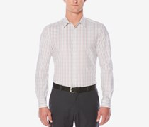Perry Ellis Men's Classic-Fit Check-Print Shirt, Bright White
