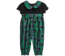 Blueberi Boulevard Baby Girls Party Pant Coverall, Green