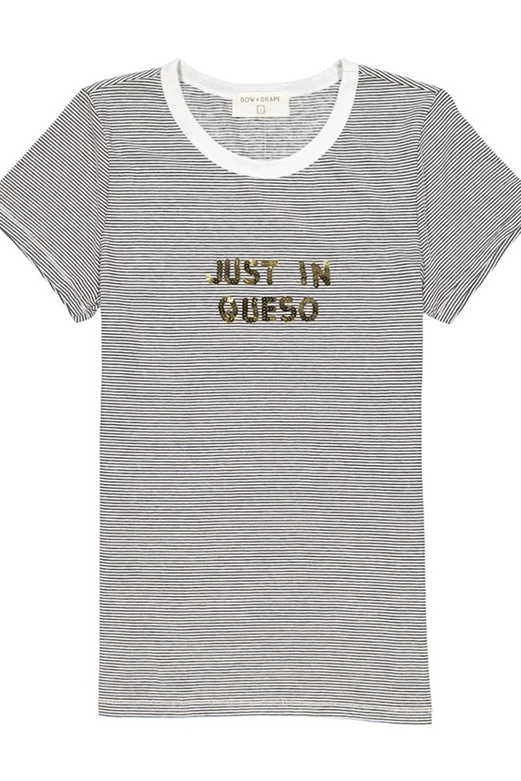9f014554 Bow & Drape Striped Just In Queso Sequined Graphic T-Shirt, Black/White
