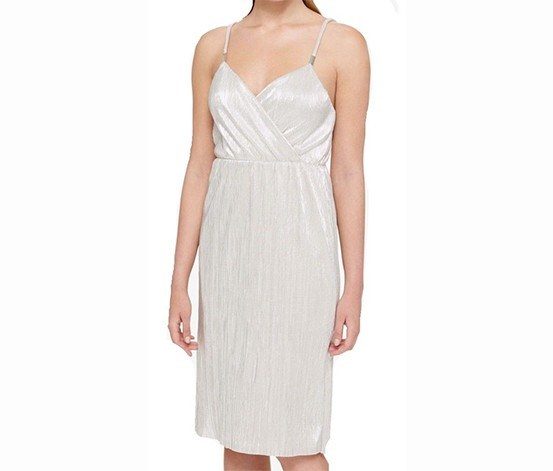 Women Silver Pleated Spaghetti Strap Dress, Silver