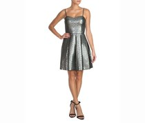 Guess Metallic Fit-and-Flare Dress, Silver
