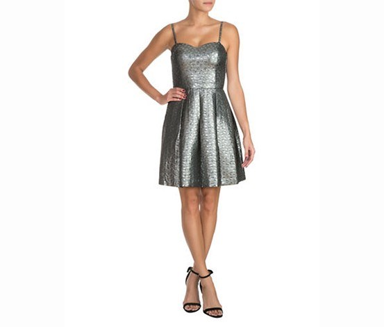 Metallic Fit-and-Flare Dress, Silver