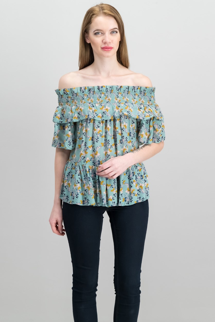 Women's Off-The-Shoulder Top, New Green Combo